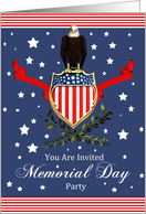 Memorial Day Card Party Invitation - Eagle And Banner card