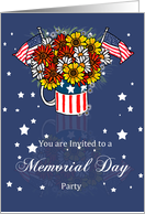 Memorial Day Card Party Invitation With Flowers In Mug card