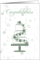 wedding cake, wedding day congratulations to the bride and groom card