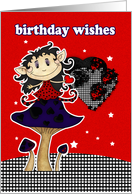 birthday wishes greeting card with gothic elf on mushroom card