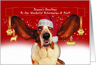 to my vet christmas holiday card with basset hound card