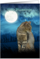 yule blessings with cat in the moonlight card