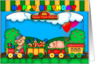 fun colorful birthday card with toy train soldiers and scenery card