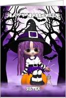 Sister Cute Witch Halloween Card