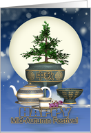Chinese Mid-Autumn Moon Festival With Tea And Moon card