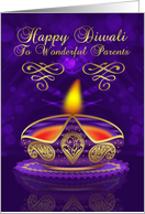 Parents Diwali Greeting Card In Gold And Purple With Lamp card