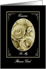 COUSIN - Be My Flower Girl - Sepia Rose Bouquet card