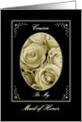 COUSIN - Be My Maid of Honor - Sepia Rose Bouquet card