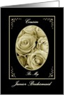 COUSIN - Be My Junior Bridesmaid - Sepia Rose Bouquet card