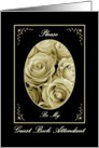 Guest Book Attendant with Sepia Rose Bouquet card