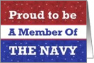 NAVY - Proud to Be a Member - Red White Blue card