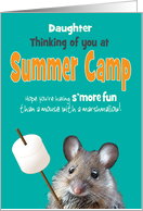 Summer Camp Daughter Custom Thinking of You Mouse with a Marshmallow card