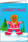Christmas Gingerbread Ice Skating Girl in Winter Scene card