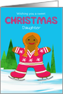 Daughter Custom Christmas Gingerbread Ice Skating Girl in Winter card