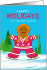New Address Custom Christmas Gingerbread Ice Skating Girl in Winter card
