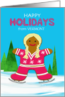Vermont Custom State Christmas Gingerbread Ice Skating Girl Winter card