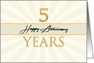 Employee 5th Anniversary Faux Gold on Cream Sunburst Background card