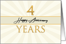 Employee 4th Anniversary Faux Gold on Cream Sunburst Background card