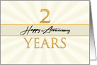 Employee 2nd Anniversary Faux Gold on Cream Sunburst Background card
