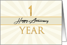 Employee 1st Anniversary Faux Gold on Cream Sunburst Background card