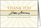 Employee Happy Anniversary Faux Gold on Cream Sunburst Background card