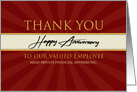 Employee Custom Anniversary Faux Gold on Red Sunburst Company Name card