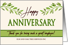 Employee Anniversary Green Leaves Garden Theme Custom Company Name card