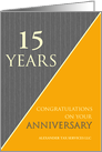 15 Years Custom Employee Anniversary Classic Gray Pinstripe Business card
