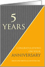 5 Years Custom Employee Anniversary Classic Gray Pinstripe Business card