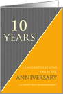 10 Years Custom Employee Anniversary Classic Gray Pinstripe Business card