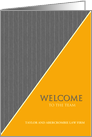 Welcome to the Team Custom Name Business Gray Pinstripe and Ochre card