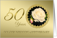 Golden Wedding 50th Anniversary White Roses in Gold Effect Frame card