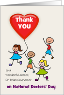 National Doctors' Day Thank You Kids Heart Balloon Custom Name card