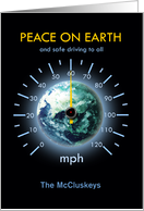 Automotive Theme Christmas Holiday Speedometer around Earth 60 mph card