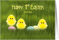 First Easter Jessie Custom Cute Chicks in Green Grass Speckled Eggs card
