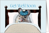 Get Well Soon Cute Mouse in Bed with Ice Bag on Head card