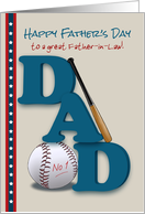 Father in Law Father's Day Baseball Bat and Baseball No 1 Dad card