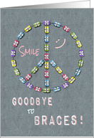 Braces Off Congratulations - Peace Sign Smile Girl card