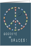 Braces Off Congratulations - Peace Sign Smile Boy Goodbye to Braces card