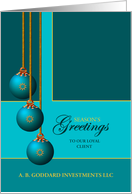 Custom Client/Customer Business Teal Ornaments Season's Greetings card