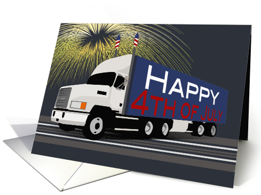 Semi Truck 4th of July White Cab and Red White and Blue Container card