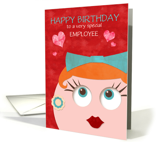 Birthday for Employee Fun and Funky Retro Lady Custom Text card