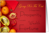 Chinese New Year Good Fortune Gong Xi Fa Cai Red Envelope card