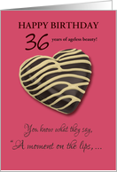 Customizable 36th Birthday A Moment on the Lips Chocolate Cookie Humor card