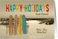 Christmas Happy Holidays from Hawaii Vintage Longboards Lights card
