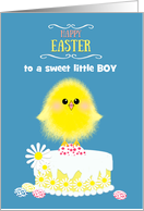 Boy Easter Yellow Chick Cake and Speckled Eggs on Blue Custom card