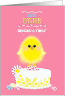 Baby's First Custom Name Easter Yellow Chick Cake and Speckled Eggs card