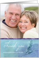 Thank you Photo Card with Blue Feathers Hand Written Look card
