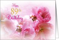 Happy 89th Birthday for Her Soft Pink Blossoms Photo Art card