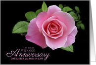 Daughter and Son-in-Law Wedding Anniversary Pink Rose Floral Custom card